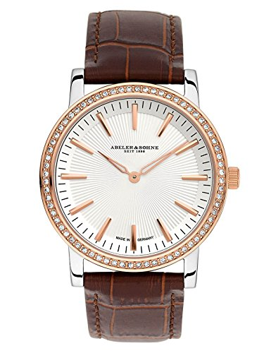 Abeler & Söhne fabricado en Alemania–Reloj de pulsera para mujer con cinta de piel, cristal de zafiro y Circonia as1204