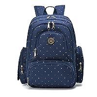 YuHan Oxford Baby Diaper Bag Nappy Backpack Change Pad Insulation Pocket Fit Stroller Blue Dot