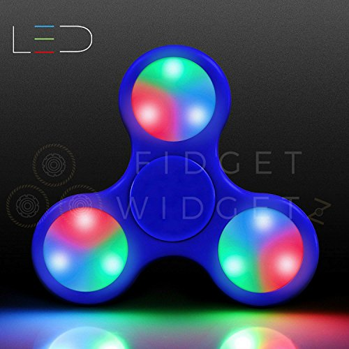 Preisvergleich Produktbild Fidget Spinner Toys By Fidget Widgetz EDC Anti-Anxiety 360 Finger Spinner Stainless Steel Bearings Click-On LED Blue Classic Trio Hand Spinner For Kids and adults Bright 3 Setting LED Lights Desk Toy