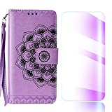 The Grafu Galaxy J6 2018 Case, Flip Leather Cover Card Slot Holder with KickStand and Free Tempered Glass Screen Protector for Samsung Galaxy J6 2018, Purple