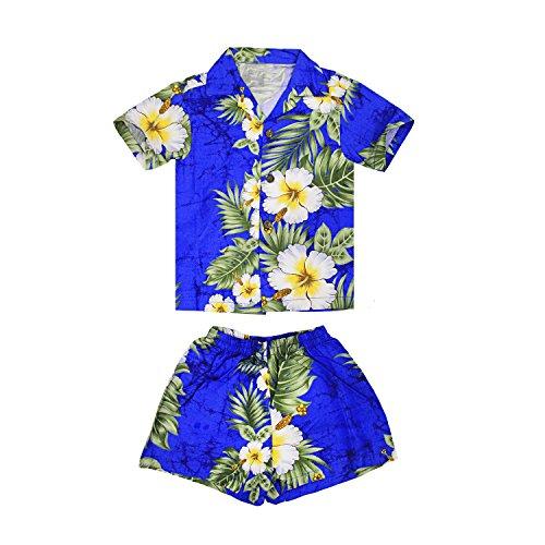 Chico-Hawaiian-Aloha-Luau-camisa-y-pantalones-cortos-Cabana-de-2-piezas-en-el-panel-Floral-Azul-2