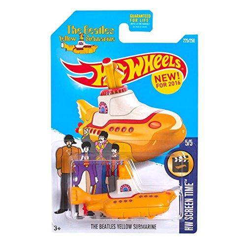 Hot Wheels The Beatles Yellow Submarine (Submarino) HW Screen Time 2016 Carta Larga