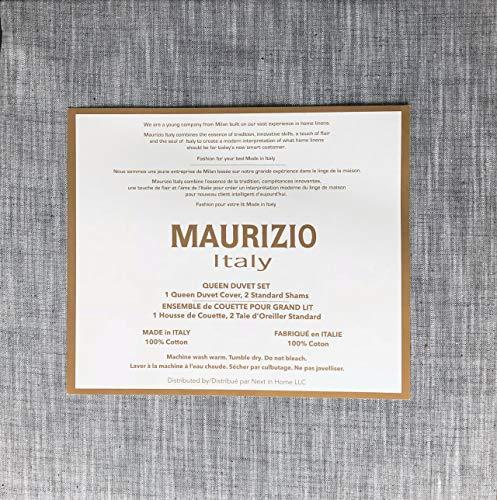 Maurizio Italy Bettwäsche-Set, 3-teilig, für Queen-Size-Bett, grau/weiß, Fadenzahl Chambray geometrischer Stil (Grau Chambray Bettwäsche)