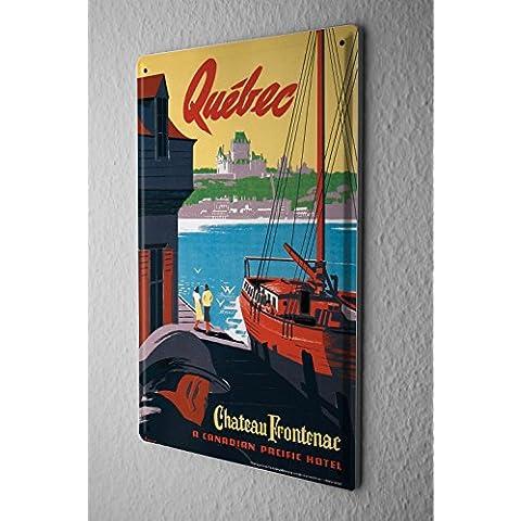 Viaggi Cartello Targa In Metallo Cucina Decorazione Quebec Port nave 20X30 cm - Nave Tin