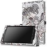 MoKo Fire 7 2015 Hülle - PU Leder Ständer Tasche Schutzhülle Lederhülle Schale Smart Case mit Stift-Schleife und Standfunktion für Amazon Fire 7.0 Zoll (5. Generation - 2015 Modell) Tablet, Map B