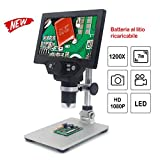 KKmoon G1200 Microscopio Digitale 1X-1200X Lente di Ingrandimento Continua Display LCD ad Alta Definizione da 12 MP da 7 Pollici con Staffa in Alluminio,Cella al Litio 3000 mAh Supporta la Ricarica
