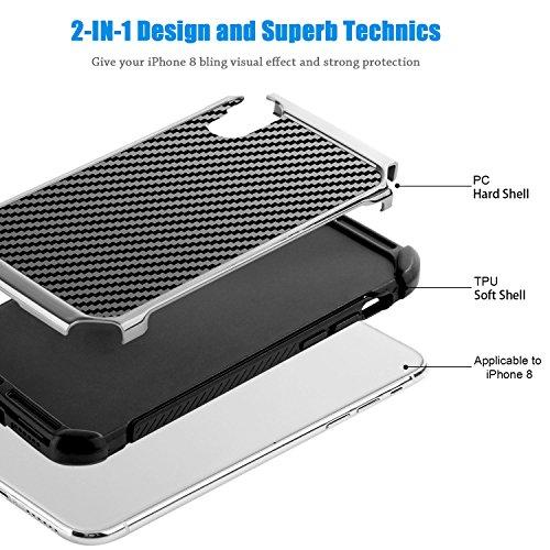 iPhone X Hülle, iPhone 10 Hülle, BENTOBEN Hybrid stoßfest Schutzhülle mit Doppelter Schutzschicht harte PC und flexibele TPU Bumper Case Hülle für Apple iPhone X / iPhone 10 Schwarz K011-Schwarz Grau