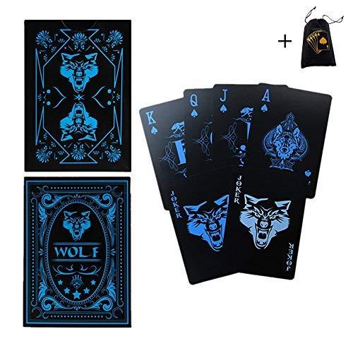 Vitality Life Wasserdichte Spielkarten Kunststoff PVC 55 Stück/Deck, Wolf Poker Cool Spielkarten, Schwarz Spielkarten Trick Magic Cards Spiele für Magische Party Kardist oder mehr (Schwarz-deck Von Spielkarten)