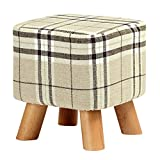 MultiWare Upholstered Footstool Ottoman Round Pouffe Wooden Legs Square Big Checkered 4 Legs