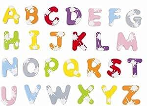 Janod - 09612 - Malette de 52 Lettres Splash - Magnétiques en Bois pour Tableau