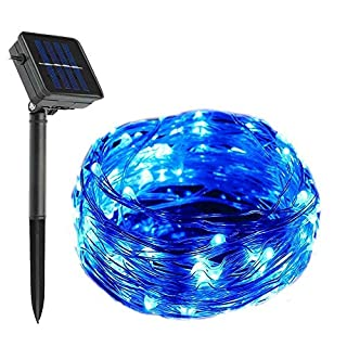 AntEuro Solar Copper String Light, EONANT 200 LED 22M/72ft Solar Wire Lights Christmas Lights with 8 Mode Working Lighting for Garden Outdoor Christmas Tree Decoration (Blue)