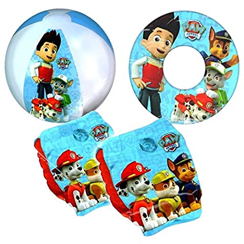 Boys Paw Patrol Children Swimming Safety Swim Aids Pool Beach Inflatables Set, Armbands, Swim ring and Beach