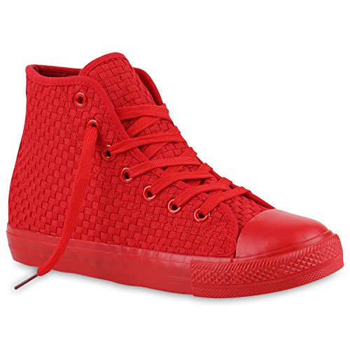 Herren High Top Sneakers Sportschuhe Stoffschuhe Casual Style Rot