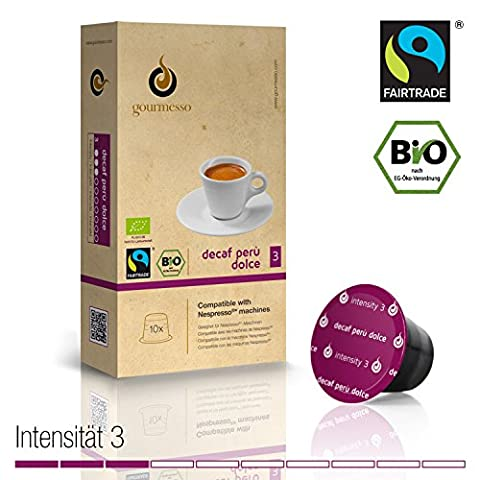 Gourmesso Decaf Perù Dolce - 10 Nespresso Compatible Coffee Capsules - Organic and Fair Trade