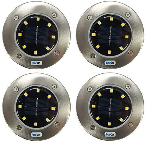 4 Stück - BarOn 8 LED Gartenleuchte Solarleuchte Light Multifunktionsleuchte automatische Abschaltung Diskus Discus Ufo Form inklusive Erdspieß Bodenspieß Bodenspitz für Garten, Terasse und Balkon