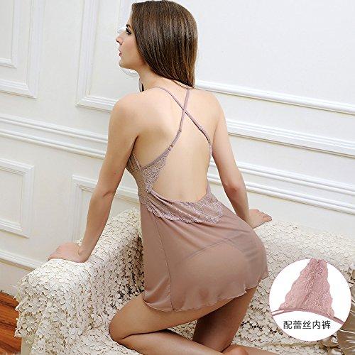 lpkone-Mesdames lingerie sexy Corset en dentelle transparente mince sangle chemise tentation sous-vêtements sexy,XL,purple Cameo