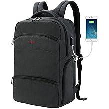 SLOTRA Scansmart Mochila para laptop de 17 pulgadas Mochila TSA Friendly con puerto de carga USB Bolso del Ordenador Portátil para Viajes de Negocios, gris oscuro