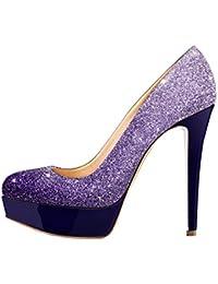 DULEE Damen und Dame Stiletto High Heel Sandalen, Lila 42
