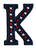 K 9cm ABC denim blau Stoff Patch Namen Buchstaben Aufbügler zum Aufbügeln auf Jacke Schal Halstuch Decke Rucksack Tasche Turnsack Fahne Wimpel Türschild Kissen Hemd Jeans Rock Hosen Kleider Kappe Hut
