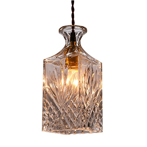 Hahaemall, bottiglia in vetro trasparente, design moderno, da appendere a sospensione Light Fixture-(lampadine non incluse)
