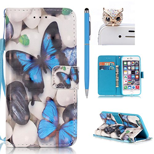 iPhone 6S Hülle,iPhone 6S Tasche,iPhone 6 Case - Felfy Flip Bookstyle PU Ledertasche Strap Standfunktion Magnetverschluss Luxe Ledertasche Painted Muster Bunte Malerei Retro Painted Abdeckung Mit Stan Schmetterling