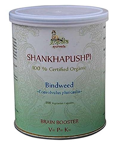 SHANKHPUSHPI Capsules (USDA CERTIFIED ORGANIC) Convolvulus pluricaulis - 108 Vcaps of 500mg each   100% Organic Herbal Food