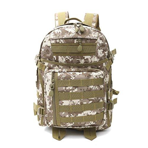 40L Walking Rucksack mit Molle Tasche / Military Bag / Military Rucksack / Rucksack Soldat / Camping Tactical Rucksack (Camouflage / Schwarz / ACU / Khaki) F