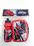 Spiderman Trinkflasche und Brotbox Set Lunchbox Marvel Brotzeitdose mit Flasche Pausenset 44220