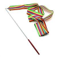 Trimming Shop Rhythmic Gymnastics Rainbow Ribbon with a Twirling Dance Baton Rod - 4M