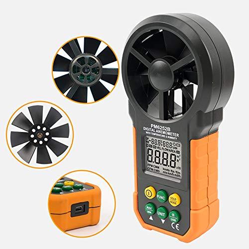 ERLLYY Anemómetro digital Medidor de velocidad del viento Medidor de flujo de aire Volumen del medidor...