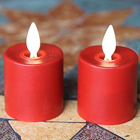 2x LED rechargeable sans flamme déménagement Wick Bougie chauffe-plat (Rouge)