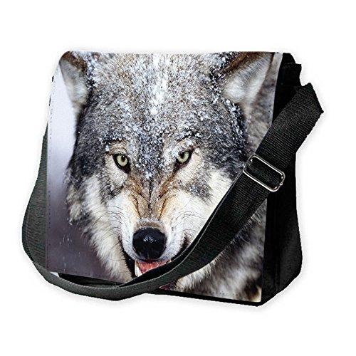 Animali Selvatici 10009, Unisex Nero Sublimazione Borsa a tracolla Reporter Bag con Spallacci regolabili e Motivo Colorato.Dimensione:Grande-28x28x11cm