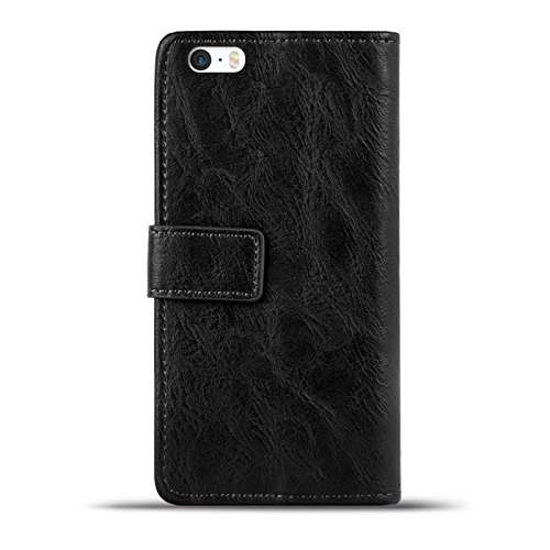 iPhone 5 / 5S / SE Bookstyle Hülle,Conie Mobile Handytasche Wallet Tasche PU Leder Schutzhülle Klapptasche, Kartenfächer, Book Case in Kastanienbraun Schwarz