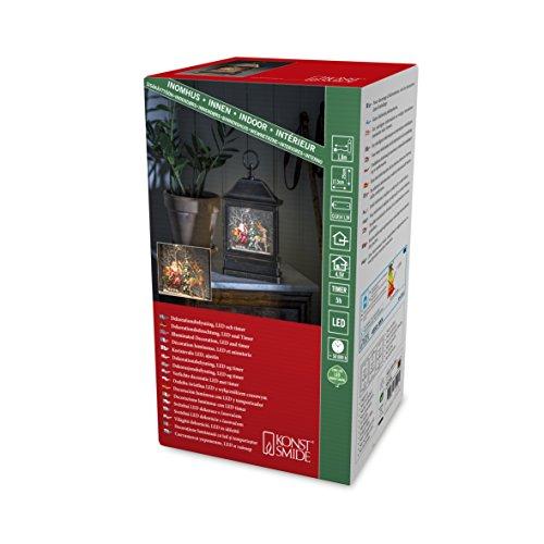 """Konstsmide, 4351-000, LED """"Schneelaterne mit Weihnachtsmann im Schlitten"""", wassergefüllt, wählbare Energieversorgung, mit 5h Timer, warm weiße Diode, 4.5V_Innentrafo/batteriebetrieben, Innen"""