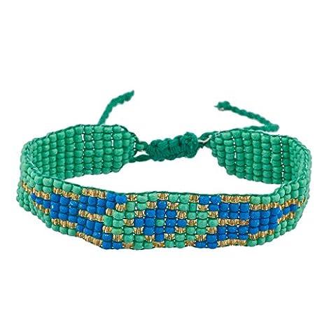 LUX Zubehör Grün klein Tribal Gemustert Seed Bead Armband