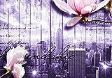 Fototapete Style New York Blüten Violett Flieder XXL 400 x 280 cm - 8 Teile Vlies Tapete Wandtapete - Moderne Vliestapete - Wandbilder - Design Wanddeko - Wand Dekoration wandmotiv24