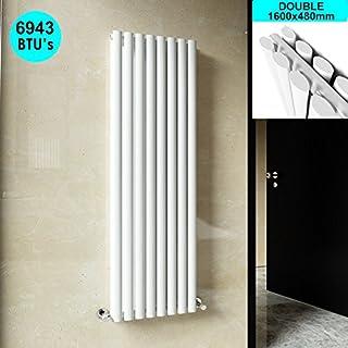 ELEGANT 1600 x 480mm Vertical Column Radiator White Oval Double Panel Designer Radiator Heater