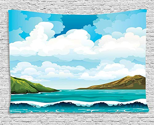 VTXWL Sea Tapestry, Seascape with Waves Islands and Cloudy Blue Sky Tranquil Exotic Shores Cartoon Style, Wall Hanging for Bedroom Living Room Dorm, 80 W X 60 L inches, Multicolo