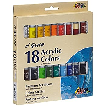 KREUL 28251 - El Greco Acrylfarben, hochpigmentierte Acrylfarbe in Studienqualität, buttrig vermalbar, für pastose Malerei, glänzend, 18 x 12 ml