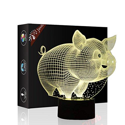 Schwein spielen Geschenk Nachtlicht 3D neben Tischlampe Illusion, Jawell 7 Farben ändern Touch Switch Schreibtisch Dekoration Lampen Geburtstag Weihnachtsgeschenk mit Acryl Flat & ABS Base & USB Kabel
