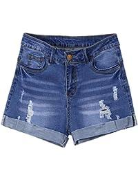 ALIKEEY ❤️Short en Denim pour Femme Shorts Jeans Troué Femme Taille Haute Pantalons Denim Ete de Plage Décontracté Élasticité Jeans Shorts Femmes Denim Pantalon Jeans Denim Short Jeans