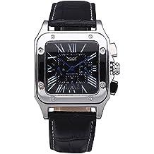 GuTe forma cuadrada hombres automático mecánico reloj de pulsera con esfera de color negro negro correa de piel