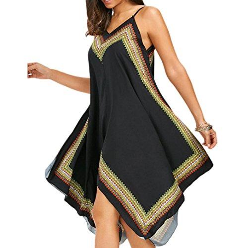 Reaso Femme Sans Manches Style National Boho Impression Sans bretelles Irrégulier sling Robe de plage (XL, Noir)