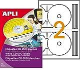Apli 119884  Boîte de 200 Etiquettes CD/DVD Diam 117