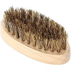 Cepillo para barba para hombres, peine de bigote, mango de bambú oval, cuidado de la barba, afeitado, herramienta de aseo de limpieza
