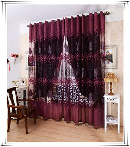 erte Blatt Hohl Fenster Bildschirme Tür Balkon Vorhang Panel Sheer Cover 100cm x 200cm (Rot) (Abdeckungen Und Vorhänge)