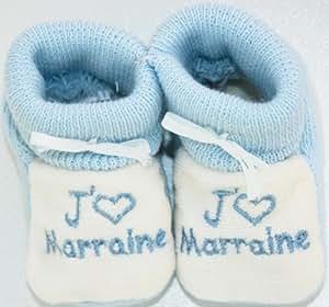 chaussons bébé brodés j'aime marraine coeur bleu/blanc