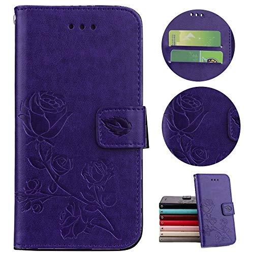 Sycode Hülle für iPhone 5S,Case für iPhone SE,Schutzhülle für iPhone 5,Rose Blume Muster Lederhülle Hülle für iPhone 5S/5/SE-Lila (Iphone 5s Purple Rose Case)