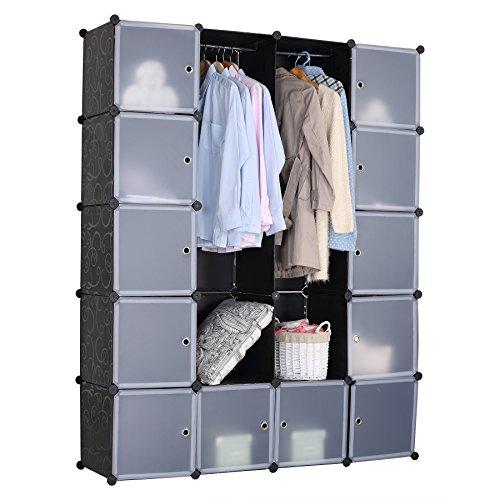 eSituro SGR0040 Kleiderschrank mit Kleiderstange mit Regal Garderobenschrank Steckregalsystem 148 x 35 x 185 cm schwarz