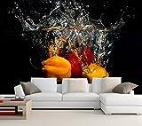 Yosot Benutzerdefinierte Gemüse Wasser Sprühen Food Restaurant 3D Tapeten Wohnzimmer Fernseher Sofa Wand Schlafzimmer Küche Tapete-400Cmx280Cm
